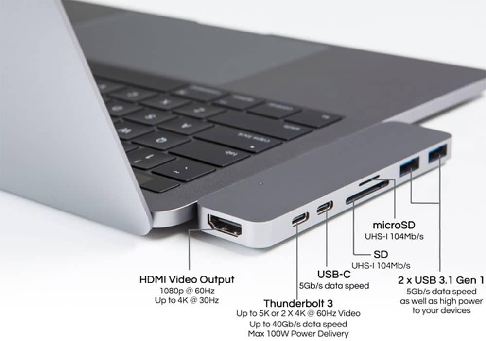 macbook pro con dongle usb c